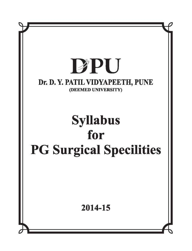 Dr. D.Y. Patil Medical College PG Surgical Specialities