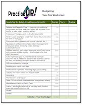 make copies of this pdf of your year one budget worksheet