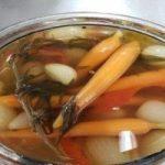 A bowl of pickled vegetables
