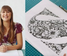 Illustrated Lettering Drawing Intricate floral forms