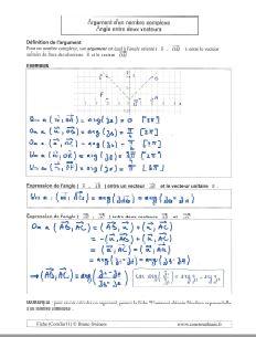 comment savoir connaitre calculer calcul argument nombre complexe - angle entre deux vecteurs