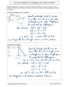 comment calculer calcul diagonale rectangle ou carre avec pythagore