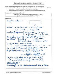 un exemple comment resoudre un probleme avec equation trinome second degre