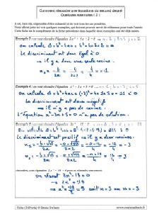 le discriminant comment resoudre une equation du second degre des exemples ( 2 )