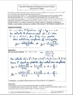 comment savoir resoudre une equation du second degre - discriminant negatif - solutions nombres complexes