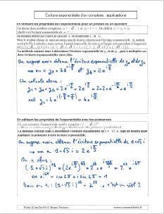 exemples et applications avec forme ecriture exponentielle nombre complexe