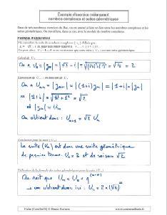 exemple application exercice avec suites geometriques et nombres complexes