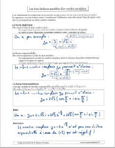 les trois ecritures nombre complexe - algebrique exponentielle trigonometrique