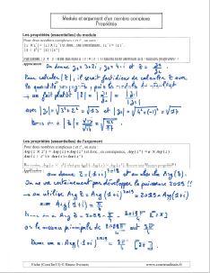 les proprietes module et argument nombre complexe