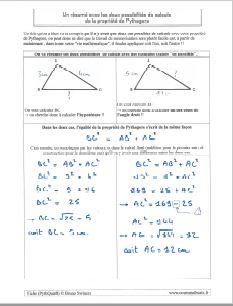 un bilan resume pour propriete de pythagore dans triangle rectangle