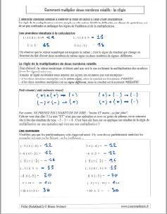 comment multiplier la multiplication de deux nombres relatifs - regle - methode - exemples