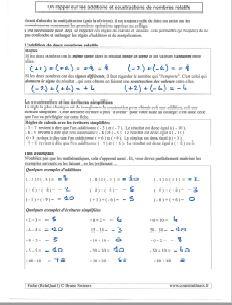 un rappel sur la regle methode addition avec nombres relatifs - des exemples