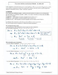 la réduction d'une expression : la méthode pour réduire une écriture littérale et algébrique