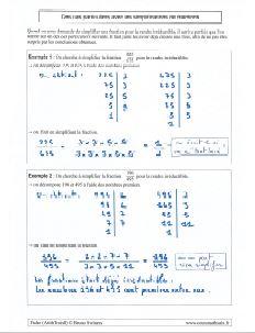 simplification de fractions - irreductibles - des exemples et des cas particuliers