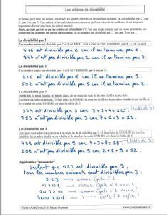 savoir quand un nombre est divisible par - les criteres de divisibilite