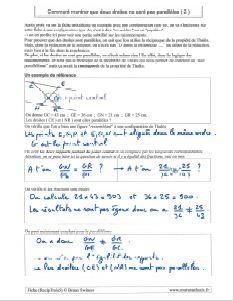 comment savoir montrer droites non paralleles - exemple 2 - contraposee reciproque propriete theoreme de thales