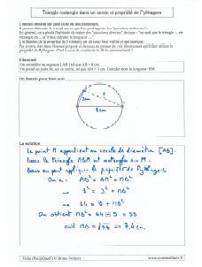 exercice type avec un triangle inscrit dans un cercle de diametre donne