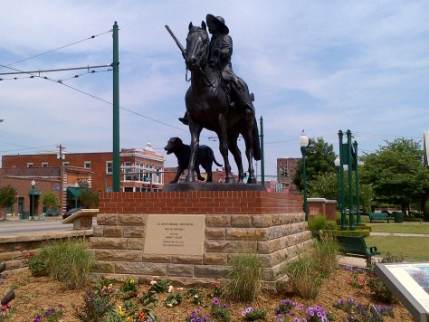 The Bass Reeves Legacy Monument, mounted on its base at Ross Pendergraft Park, Fort Smith, Arkansas
