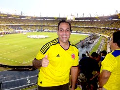 Gio gives Colombia a thumbs up before the game.
