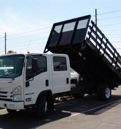 nprhd crew cab stake bed dump with tilting lift gate isuzu nrr  [ 3264 x 2448 Pixel ]