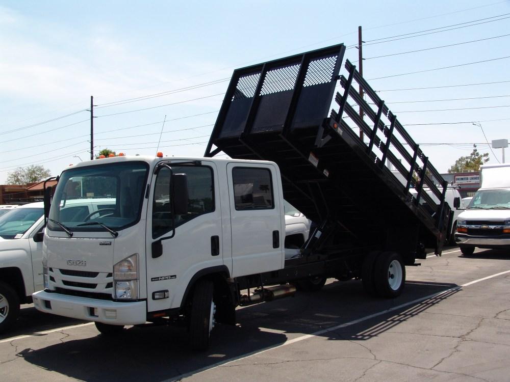 medium resolution of nprhd crew cab stake bed dump with tilting lift gate isuzu nrr