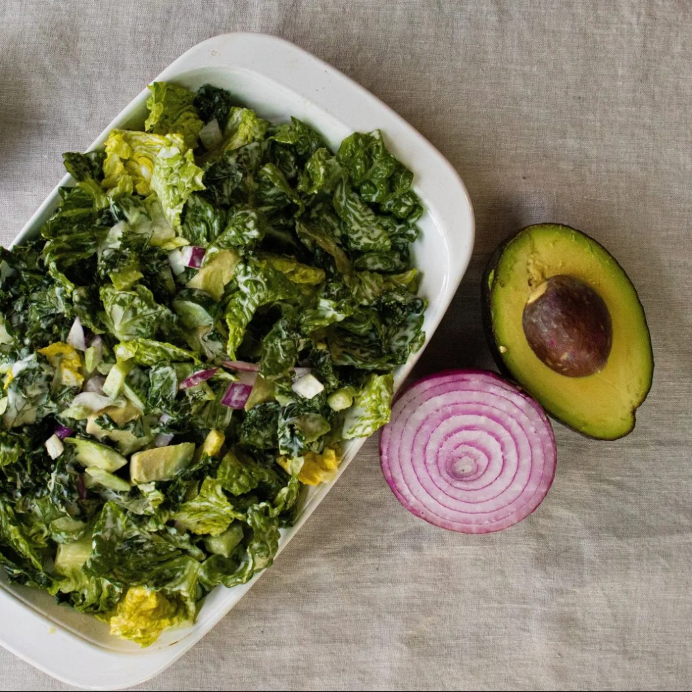 Kale salad with avocado. Gluten free, dairy free, vegan with Autoimmune Protocol introductions