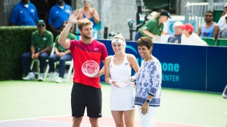 Ryan Harrison of the San Diego Aviators and Nicole Gibbs of the Orange County Breakers collect their awards from Ilana Kloss, Comissioner of Mylan World TeamTennis