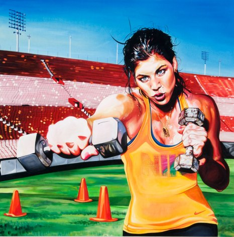 Hope Solo, 2009 40 x 40 inches acrylic on canvas. This painting was commissioned by Nike for the Delicious campaign.