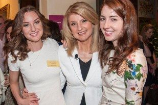 Arianna Huffington (center), with daughters Christina and Isabella