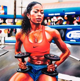 Sanya Richards, 2009 40 x 40 inches acrylic on canvas. This painting was commissioned by Nike for the Delicious campaign.