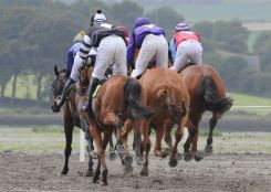 HOOF SYMPHONY: Some of the runners and riders in the 2009 Lislee Derby, the feature race of the Courtmacsherry Strand Races. Picture: Martin Walsh.