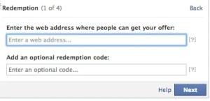 facebook offer redemption