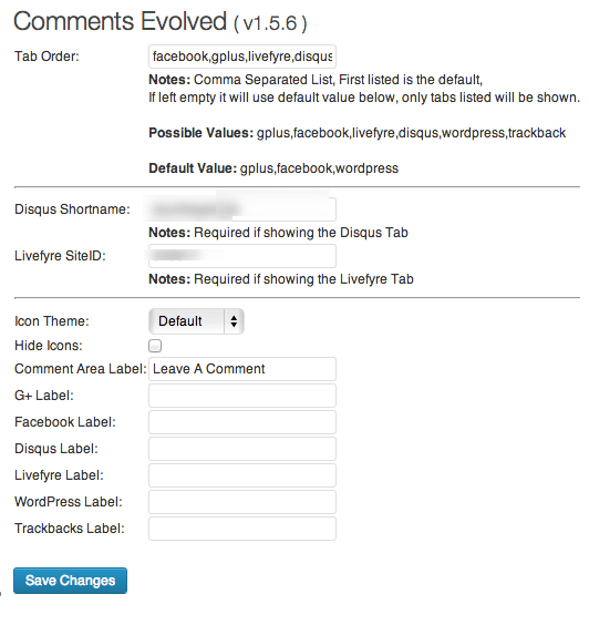 comments evolved settings