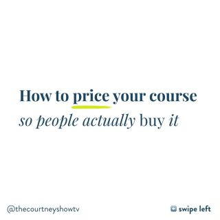 Swipe left ⬅️ and turn your sound ON 🎤 for a little lesson on HOW to price your online course... so people will actually buy it. Imagine that 😉 If you're worried about charging too high (so no one buys your course) or charging too low (so you don't make any money), or charging at all (when what you teach might be freely available info online) or pricing and selling it when there are so many other courses out there