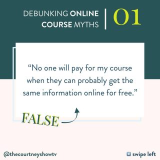 """Truth: Not everyone will buy your course. But those that do will do so in spite of — or even BECAUSE of —the fact that there's a lot of free information already available online. Why? Because people will always pay for: 1. Convenient things; 2. Time-saving things; 3. Proprietary things Let's break it down: Think about the last time you fell down a Google or YouTube rabbit hole. Sometimes that's fun. Other times? Not so much. Home design blogs? I am READY for that rabbit hole. Car repair videos on YouTube? Nah. I'm hiring that out. Even when the info's available for free, sometimes I'd rather save time + get the convenient solution — especially if doing it myself could pose some risk. But that's not all: Just because some info is available online — for free — doesn't mean it's the exact info that'd be in your paid course. You're bringing something that no one else can: Your proprietary perspective. We're all unique individuals with unique combinations of skills, talents, experiences, and perspectives. That's why 5 different people teaching on the same topic could essentially have 5 different, yet marketable courses. It's also why people buy my courses everyday: for the convenient, time-saving solutions, yes, but ALSO for my proprietary perspective. I know I'm not the only person out there teaching how to create & launch courses. Far from it. BUT I'm the only person coming at it from my unique perspective. And for some people, my perspective resonates. For others, it doesn't. And that's OK. But for those that resonate with me, they'll pay money to get access to my perspective — and all the strategies and support that come with it. So, yes, some people won't buy your course and will even justify it for themselves by saying """"I can probably figure this out on my own and find this information for free."""" That's fine. They're not ready. And some may never be. But your marketing efforts aren't for them. Instead, focus on the rest — those who will happily open their wallets i"""