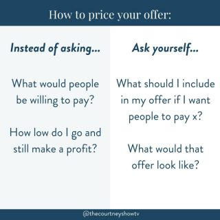 """Woof. Pricing. This is a big one — and questions related to pricing land in my inbox almost every day. With those pricing questions come SO many variables (and so many emoooootions lawdamercy), but honestly, it can all be simplified with 1 mindset shift: Instead of asking yourself: What would people be willing to pay? — Ask yourself: What should I include in my offer if I want people to pay x? This isn't about over-delivering because that can often lead to *overwhelming* your students. And this isn't about charging your worth… because you *can't* charge your worth. You are priceless 😘 BUT if we only ask ourselves """"What would people be willing to pay?"""" we're more than likely going to choose a price through the lens of our own money blocks. I have them. You have them. We all have them. Some of us more than others. They're a reality for everyone, and they're a terrible starting point when it comes to pricing. You can price low for accessibility or high for exclusivity. You can price to reflect the time you will or won't be spending with your client. You can price based on so many things. But don't get into a game of money limbo (how low can I go?) because you think"""