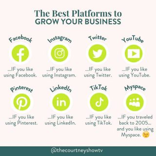 THIS JUST IN: 👀 The best platform to grow your business IS... . . . Whatever platform you like using the most 😉 Now, to my nay-sayers (because this advice always brings out the nay-saying in folks), let me address what I know will be said otherwise: