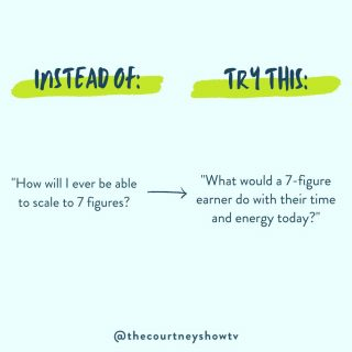 Hint: It's not about changing your personality, just your perspective. You have to start *thinking* like the person you want to be before you can BE the person you want to be.  So, rather than wonder how you'll ever get where you want to go, ask yourself: How would a 7-figure earner use their time today? How would they use their energy?  AND just as importantly, what *wouldn't* they spend their time and energy doing?  Sure, you might not have the financial resources or bandwidth that a 7-figure earner has (yet), but you can certainly start thinking like one. Which will move you in the direction of becoming one. 😉Your thoughts drive your actions (for better or worse). Or, to be cute and rhyme-y: The things you believe influence the things you achieve. ✨  If you started trying to think like the type of business owner you want to be, what would change? What would get prioritized? What would fall away?  If you've never tried this before, give it a few minutes today and see what happens for you when you ask yourself these questions!  P.S. Money mindset is just one of many things we address in Launchpad, my curated coaching program for course creators. If you're a course creator wanting to scale your course to 7 figures and beyond using the magic of evergreen funnels, apply here today: courtneyfosterdonahue.com/launchpad