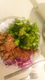 My broccoli, meatloaf and fermented sauerkraut.