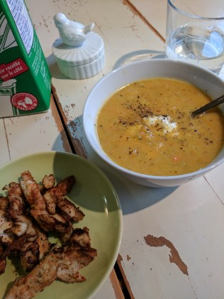 Squash soup and chicken for Lunch Monday
