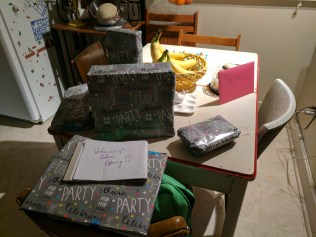 presents and cake waiting for morning
