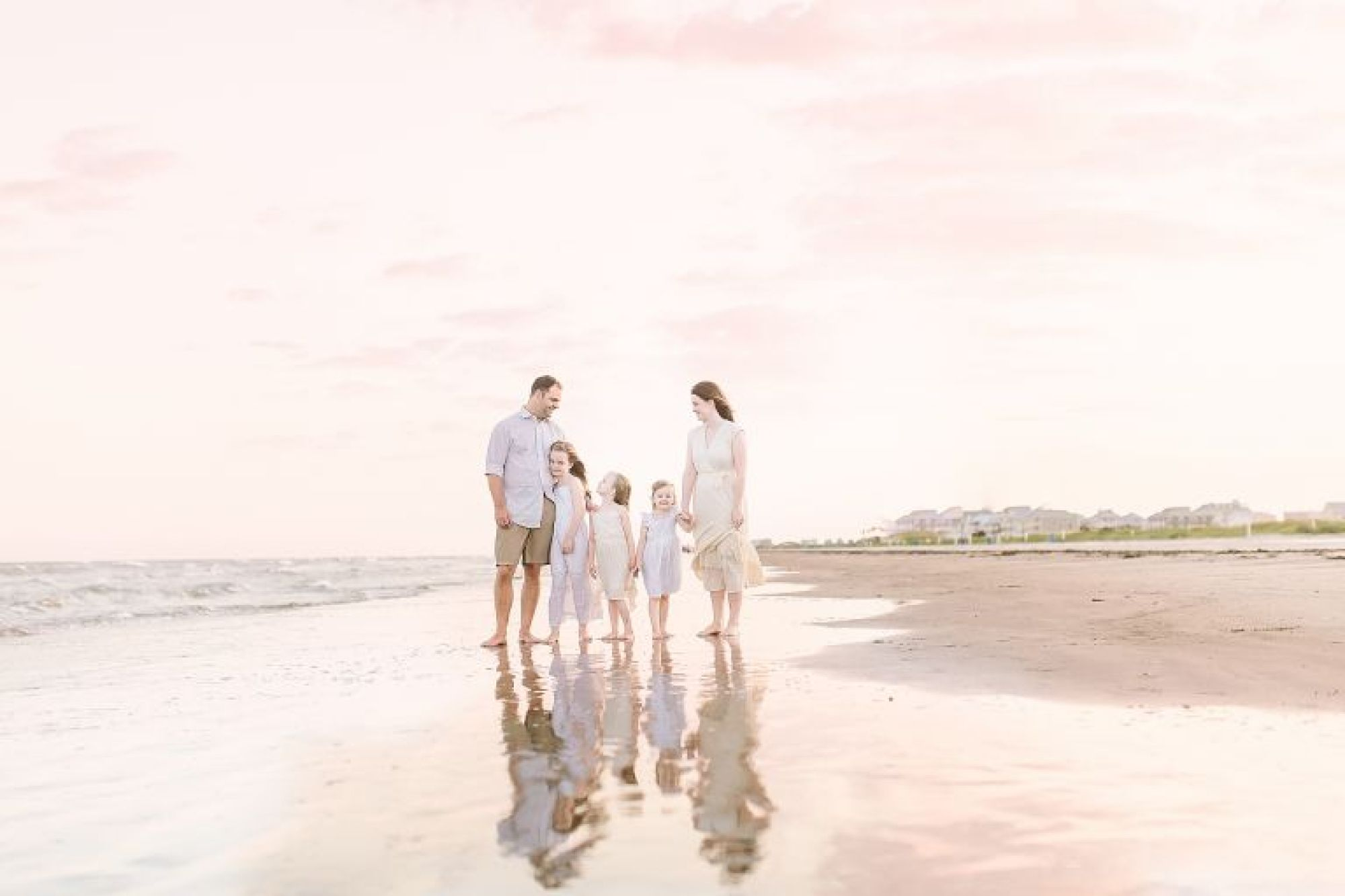 Galveston family beach session at sunset with Courtney Griffin Photography.