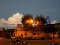 Sunset, painted clouds, and Torre Agbar
