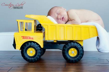 Regina Newborn Photographer - Newborn in Tonka Truck