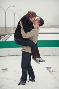 Regina Engagement Photographer - Brian & Jacey - Snow Kiss