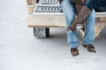 Regina Engagement Photographer - Stephen & Sara - Back of Truck - Feet