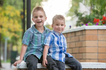 Brothers on a wall in Downtown Regina- Favel Family Photos 2016