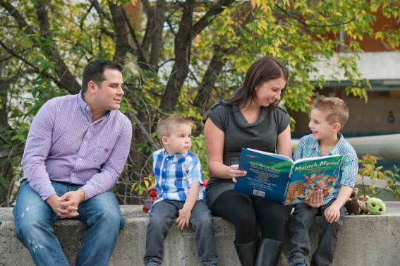 Family reading at CBC Regina - Favel Family