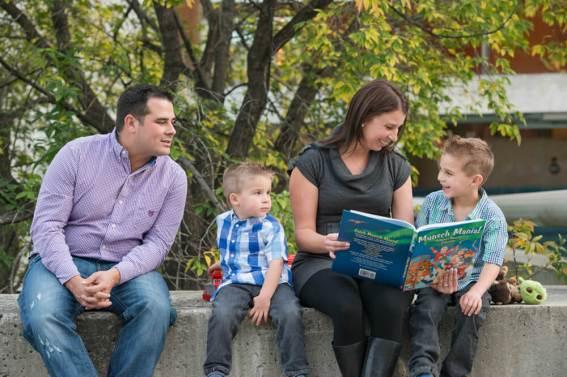 Family reading at CBC Regina - Favel Family