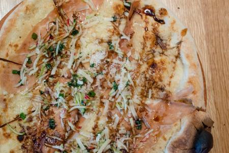 Prosciutto & Apple pizza at Double Zero Pizza Chinook Centre